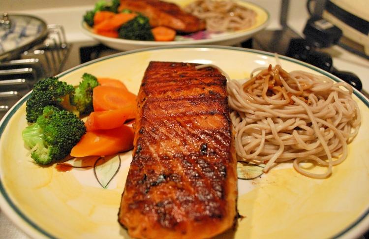 Salmon Steak & Soba